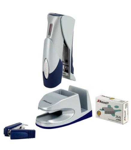 rexel-gazelle-g-pod-half-strip-stapler-staple-remover-and-staples-set-silver-blue-20-sheet-capacity