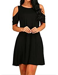 HAOMEILI Women's Cold Shoulder Tunic Top T-Shirt Casual Swing Dress with Pockets