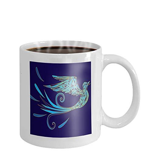 Coffee cup mug blue bird cartoon posing collection illustration 11oz - Blue Mug Cup