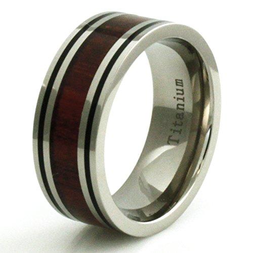 Ringe Für Gold Verheiratet Männer (Titan Holz Inlay Ring mit Dual Schwarz Streifen - Größe 55 (17.5))