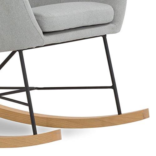 Designer Stillstuhl aus Stoff mit Armlehnen grau - 3