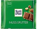 RITTER SPORT Nuss-Splitter (100 g), Vollmilchschokolade mit Haselnuss-Stückchen, knackige Tafelschokolade, Schokolade mit Nüssen