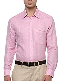 Turtle Men's Pink Pure Linen Limited Edition Slim Fit Formal Shirt