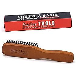 Brosse à barbe et moustache avec poignée de grande qualité. 100% de poils de sanglier. Idéale pour l'utilisation d' huile, de baume et de tous soins de barbe (18,50X3,60X2,80cm). ✮ BARBER TOOLS ✮