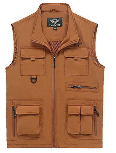 MatchLife Hommes Veste Sans Manches Gilet de Maille Respirant Multi Poches Gilet de Pêche Style10-marron