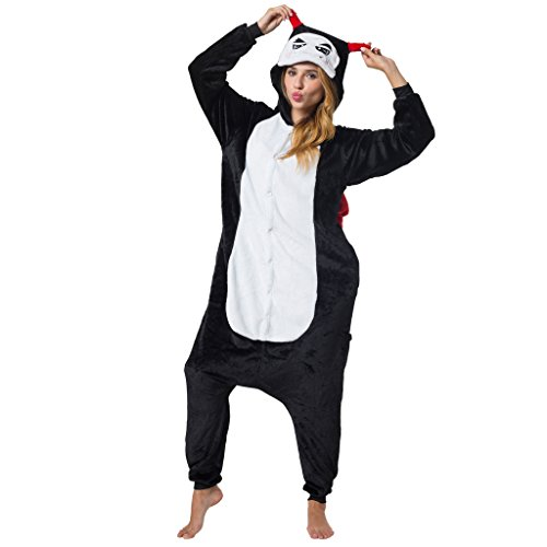 Damen Teufel Für Schwarz Kostüm - Katara 1744 Teufel-Kostüm Schwarz-Rot-Weiß, Animé-Verkleidung zum Fasching, Sleepsuit, Onesie, Schlafanzug, Hausanzug, Jogginganzug, Cosplay, Gruselkostüm für Jugendliche und Erwachsene