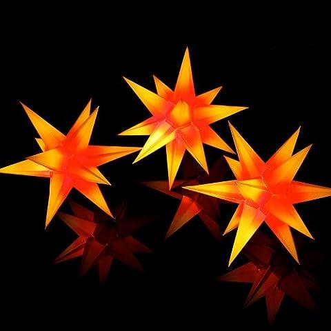 Weihnachtssterne: 3 Sterne beleuchtet rot gelb, Sternschmiede (Art Nr. 303) mit Netzteil