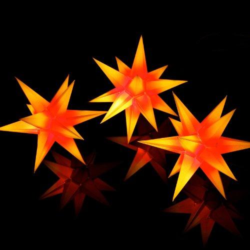 Sternschmiede (Rotgelb) 3er Set beleuchtete Sterne fürs Fenster (Art200) inkl. Netzteil, 3-Fach-Verteiler Fenster-Clip & Distanz-Stab 19cm Papier Weihnachtssterne handgefertigt f. Innenbereich