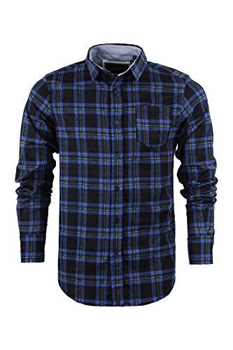 Herren Langärmliges Shirt von Brave Soul gebürstete Baumwolle Flanell kariert Holzfällerhemd, S-XL Black & Blue Combo | DUF