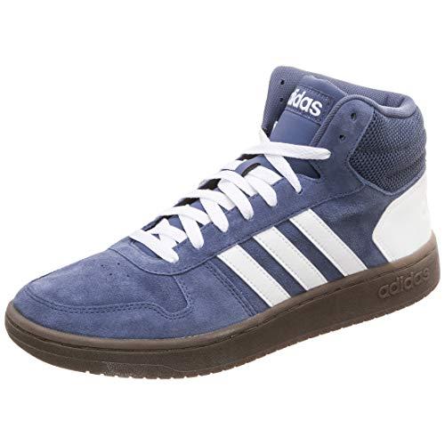 adidas Herren Hoops 2.0 Mid Hohe Sneaker, Blau (Tech Ink Footwear White 0), 42 EU Mid Sneaker