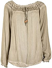 Fashion Moda Damen Langarmshirt Tunika Blusen Shirt Vintage Look Carmen Ausschnitt