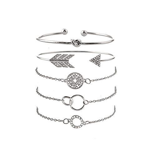 Dsaren Strand Armbänder Sets Charme Armbänder Armreifen Ring Knoten Bracelet für Frauen Mädchen Freundin Freundschaft 5 PCS (Pfeil & Kompass) (Pfeil-freundschaft-armband)