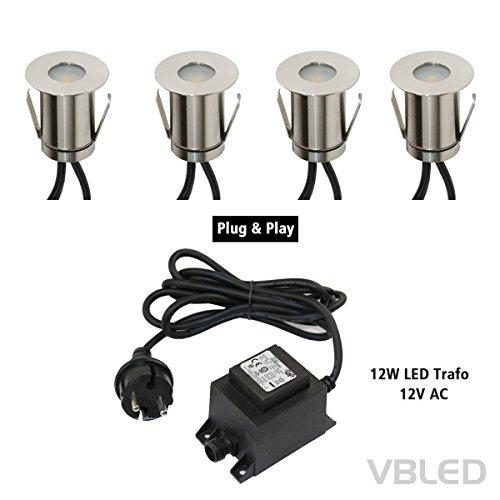 VBLED® Boden-Einbaustrahler 0.3W Mini LED, Warm-weiß, IP67, Rund aus Edelstahl inkl. Netzteil und Kabel, Terrassen-Einbauspot (4er-Set) (Einbauleuchten-gehäuse-kit)