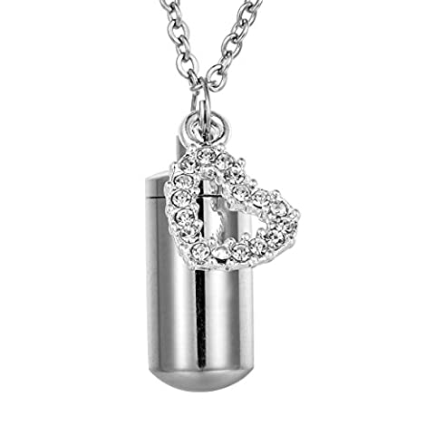 HooAMI Rhinestone Heart Charm Cylinder Urn Pendant Necklace For Ashes