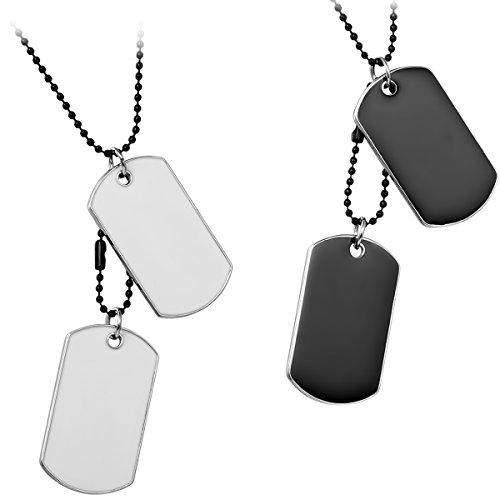 cs Herren Halskette, 2 Militärischen Erkennungsmarken Armee Stil Dog Tag Anhänger mit 70cm Kette, Weiss Schwarz, mit Kostenlos Gravur (Dog Tag Halskette Kette)