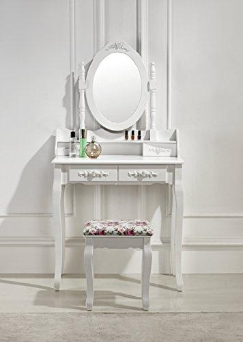 Schminktisch Spiegeltisch Spiegel inkl. Sitzbank im Barockstil weiß #40