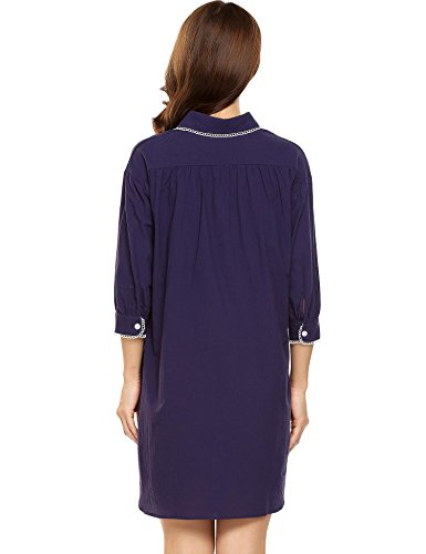 EKOUAER Damen Nachthemd Baumwolle Nachtkleid Rundhals Lang Schlafshirt Spitze Still Pyjama Weiss/Grau/Blau/Lila/Rosa Gr.S-XXL 6682_Lila