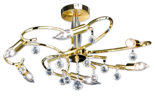 Honsel Leuchten 26196 Sala - Lampada a soffitto a 6 punti luce, eco alogena E14 6x28 W, ø 62 x 34 cm, ottone lucidato e vetro