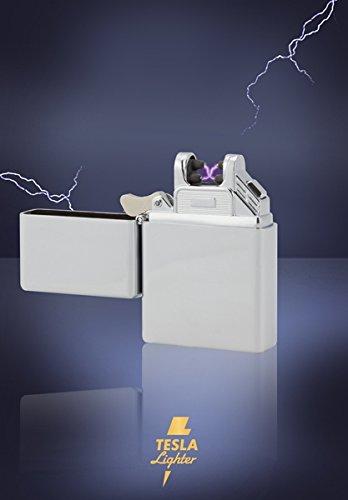Tesla-Lighter T03 | Lichtbogen Feuerzeug, Plasma Single-Arc, elektronisch wiederaufladbar, aufladbar mit Strom per USB, ohne Gas und Benzin, mit Ladekabel, in edler Geschenkverpackung, Silber