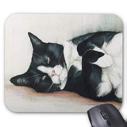Tuxedo Cat Art Mouse Pad (Gold Tuxedo)