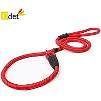 Cdet Correa de ajustable cuerda slip nylon para perro cachorro perro mascota adiestramiento pet dog leash 1.2m Rojo