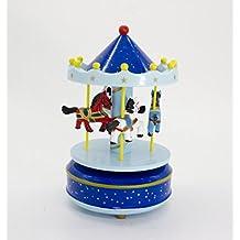 alytimes Carrusel de Madera Caja de música de madera 4caballos giratoria caja de música regalo de cumpleaños de San Valentín Navidad niños juguete (blue-love)