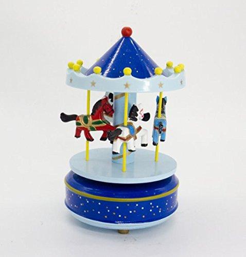 ALYTIMES CARRUSEL DE MADERA CAJA DE MUSICA DE MADERA 4CABALLOS GIRATORIA CAJA DE MUSICA REGALO DE CUMPLEAñOS DE SAN VALENTIN NAVIDAD NIñOS JUGUETE (BLUE-LOVE)