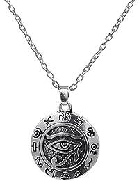 Wicca Collar con colgante de ojo de Horus egipcio esmaltado en plata envejecida, joyas para hombre y mujer