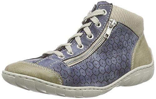 Rieker M3735 Women Hi-top, Baskets hautes femme Bleu - Blau (marble/jeans/champignon / 60)