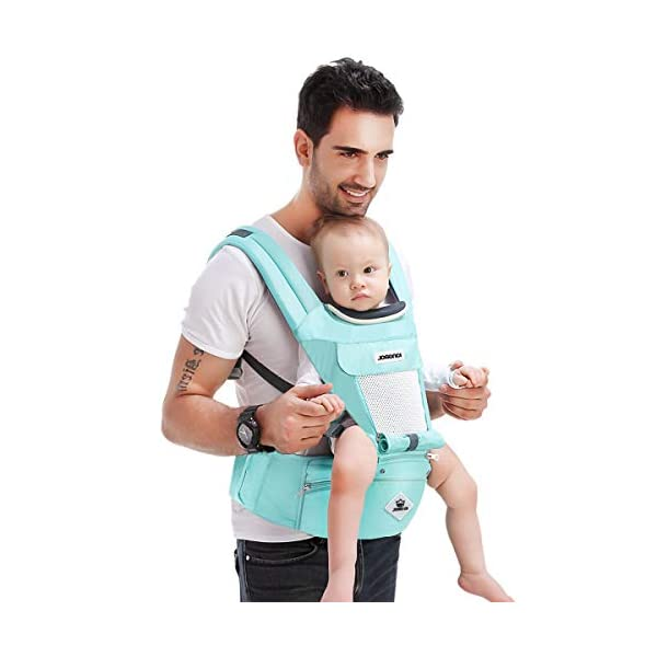 SONARIN Multifunctional Hipseat Baby Carrier,Breathable Straps, Ergonomic, 100% Cotton, Large Capacity Storage,11 Carrying Positions,Adapted to Your Child's Growing,Ideal Gift(Light Green) SONARIN  2