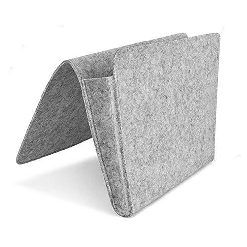 Morehappy7 - Mesita de noche con compartimento interior de fieltro, organizador de almacenamiento para la cama con 2 bolsillos pequeños para organizar la tableta, revista, teléfono, pequeñas cosas, sofá o escritorio.