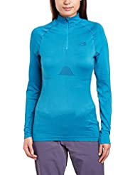 The North Face W Hybrid L/S Zip Neck - Camiseta para mujer, color azul, talla S/M