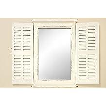 Espejo de Pared con Contraventanas de Madera Blanca Altura 70 cm