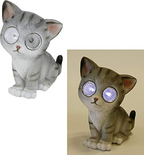 wunderschöne Solarlampe,Solarleuchte Katze mit Solar-Augen Sofie