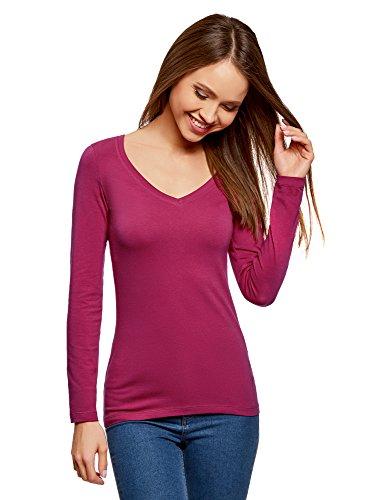 oodji Collection Damen Tagless T-Shirt mit V-Ausschnitt und 3/4-Arm, Rot, DE 38 / EU 40 / M