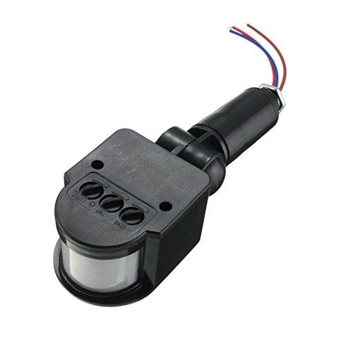 12m Pir Sensor Detector de Movimiento Infrarrojos Luz Montaje Pared Al Aire Libre Rf DC 12V - Negro