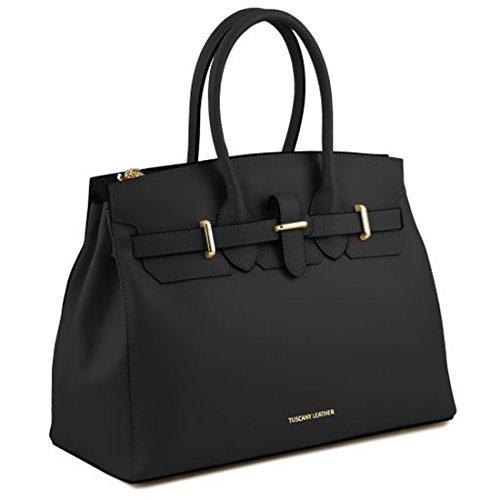Tuscany Leather Elettra - Borsa a mano media in pelle ruga con accessori oro - TL141548 (Rosso) Nero