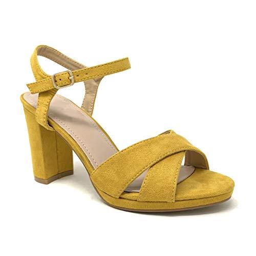 Sandalias amarillas de fiesta con tacón y tiras finas