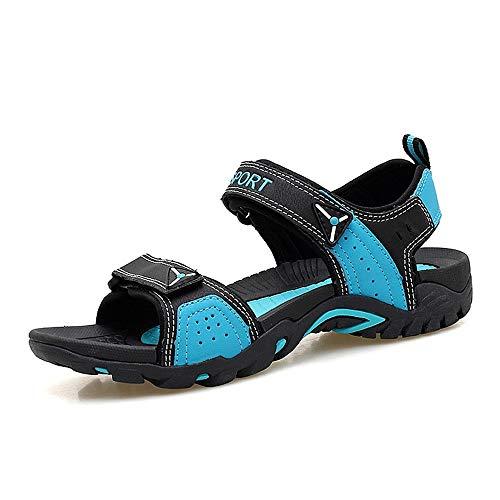 Shengjuanfeng Sandalen für Männer und Frauen im Freien Wasserschuhe Slip On PU Leder Klettverschluss passen Farben (Color : Black Blue, Größe : 37 EU) Blue Cricket