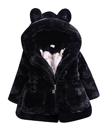 Giacca pelliccia faux ragazza cappotto giacche manica lunga cappotti giubbotto con cappuccio nero 140cm