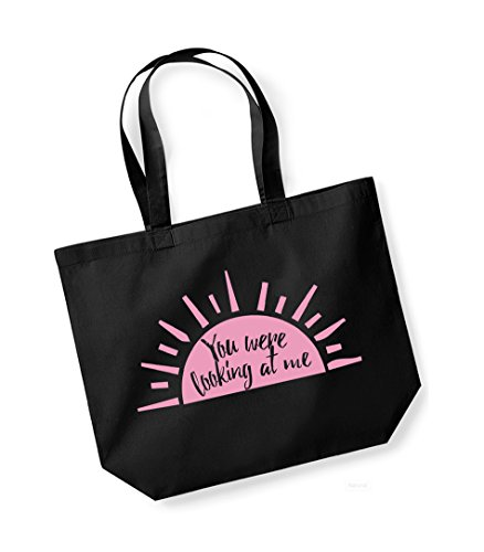 You Were Looking At Me - Large Canvas Fun Slogan Tote Bag Black/pink