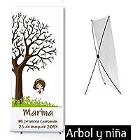 Cartel Comunión niña Banner Varios modelos niña. Modelo árbol y niña.Personalizado. Incluye funda de transporte.