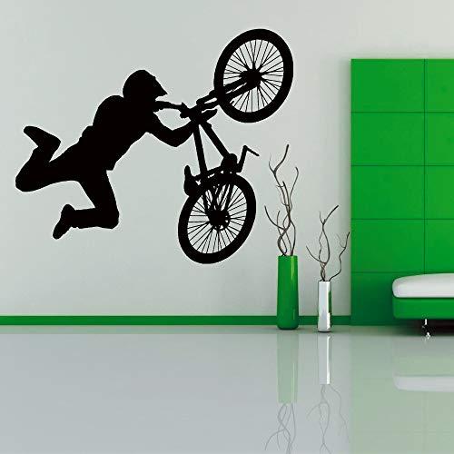 Bmx - Rad Mit Kunst Vinyl Wandsticker Teenager, Junge Schlafzimmer Aufkleber Spielzimmer Cool Wallpaper Bikestore Wand Home Decor 66x56cm