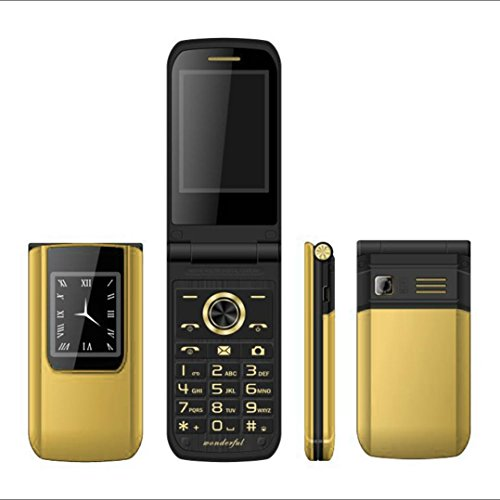 QHJ Phones Dual-Screen-Dual-Sim-Karte Lange Standby-FM Senior Phone Flip Handy (Gold)