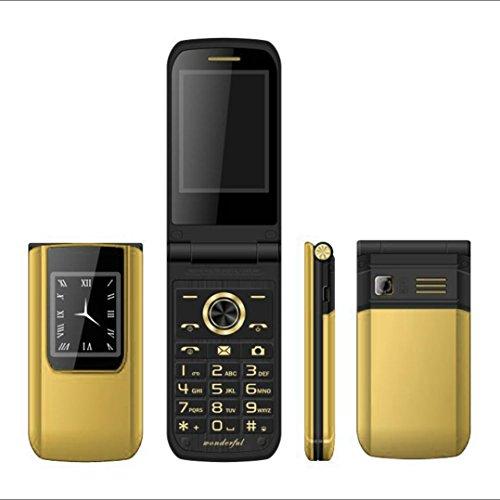 QHJ Phones Dual-Screen-Dual-SIM-Karte Lange Standby-FM Senior Phone Flip Handy (Gold)