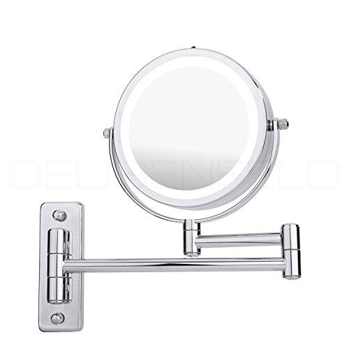 DEUSENFELD WL5CB - Batterie LED Doppel Wand Kosmetikspiegel, Schminkspiegel, Rasierspiegel, 5-fach...