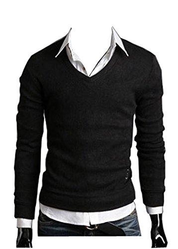 Sichyuan Herren v Ausschnitt Pullover Pulli Warm Leicht Hemd,Klassisches Slim Fit v-Neck Lange Ärmel Basic Sweatshirt Sweater Schwarz