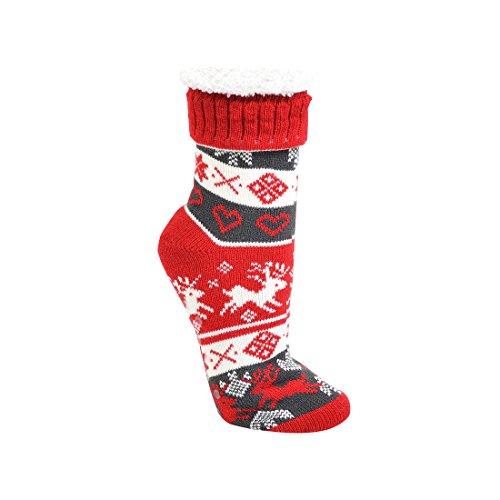 1 Paar Homesocks ABS, extra flauschig, für Damen und Teens,Bettsocke, Weihnacht Socke, CH-205 (36-42, Rot)