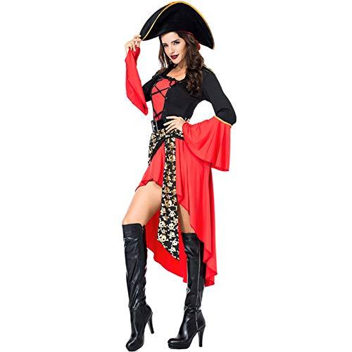 Zjwz costume da pirata delle donne costume da gioco di halloween vestito uniforme tuta + cappello + cintura,xxl