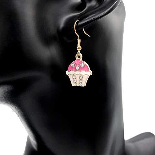 Ohrringe CUPCAKES | gold versilbert | Ohrhänger | Ohrringe hängend | Anhänger | süß | Zirkonia Steinchen -
